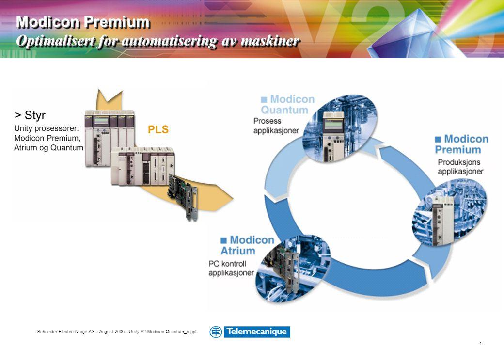 4 Schneider Electric Norge AS – August 2006 - Unity V2 Modicon Quantum_n.ppt Modicon Premium Optimalisert for automatisering av maskiner