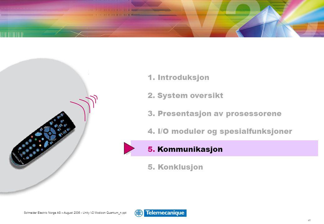 41 Schneider Electric Norge AS – August 2006 - Unity V2 Modicon Quantum_n.ppt 1. Introduksjon 2. System oversikt 3. Presentasjon av prosessorene 4. I/