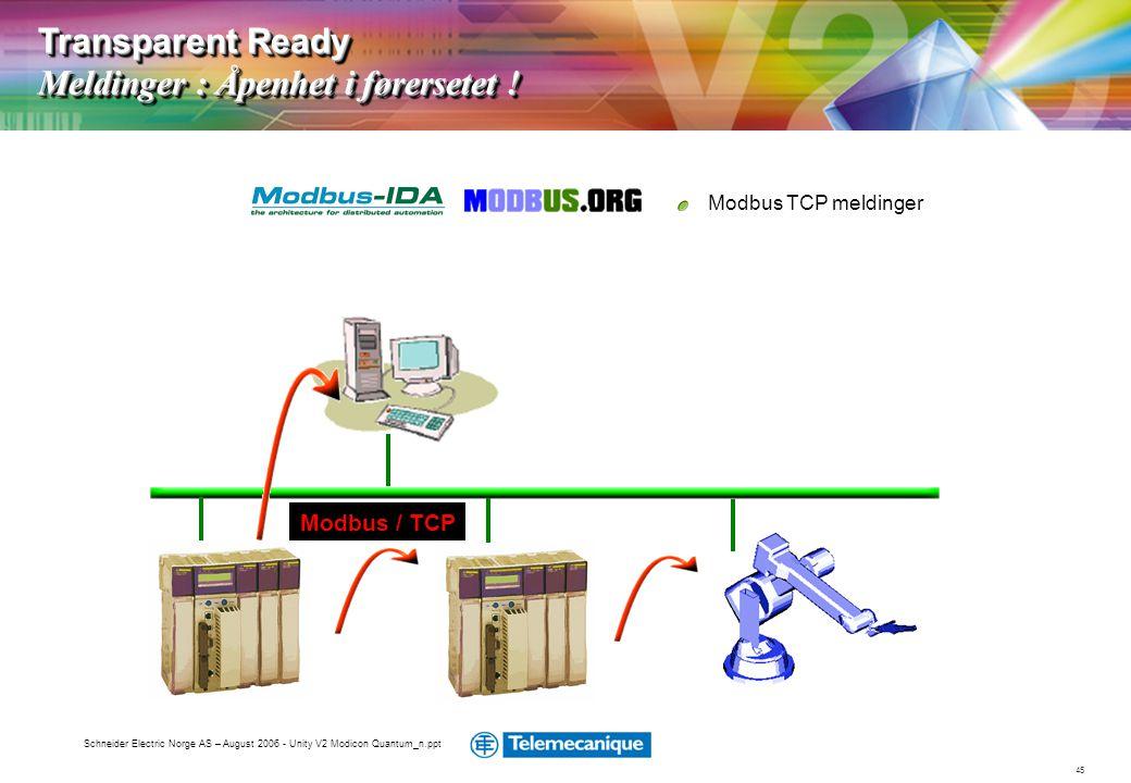 45 Schneider Electric Norge AS – August 2006 - Unity V2 Modicon Quantum_n.ppt Modbus TCP meldinger Transparent Ready Meldinger : Åpenhet i førersetet