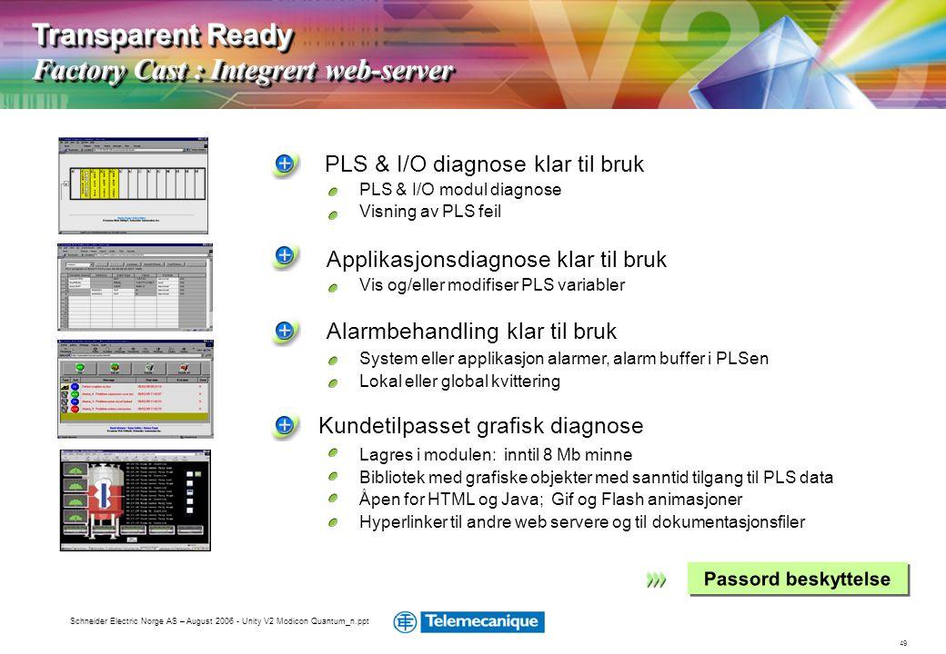 49 Schneider Electric Norge AS – August 2006 - Unity V2 Modicon Quantum_n.ppt PLS & I/O diagnose klar til bruk PLS & I/O modul diagnose Visning av PLS