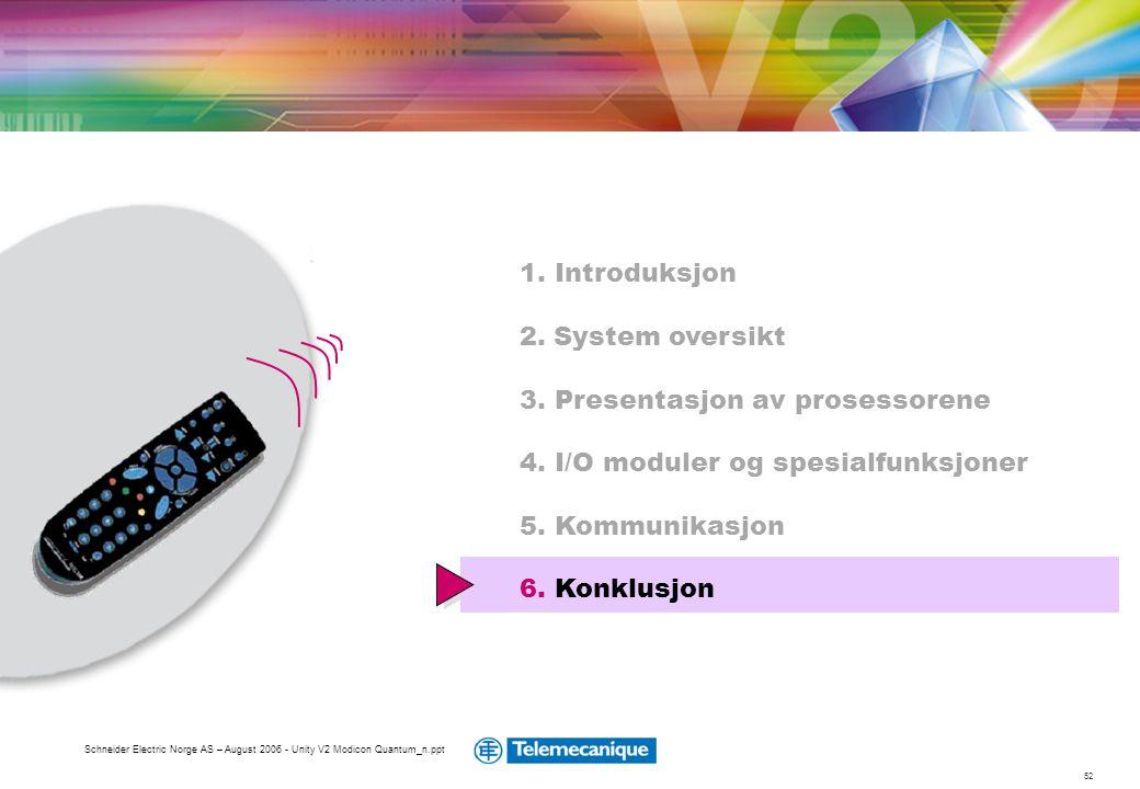 52 Schneider Electric Norge AS – August 2006 - Unity V2 Modicon Quantum_n.ppt 1. Introduksjon 2. System oversikt 3. Presentasjon av prosessorene 4. I/