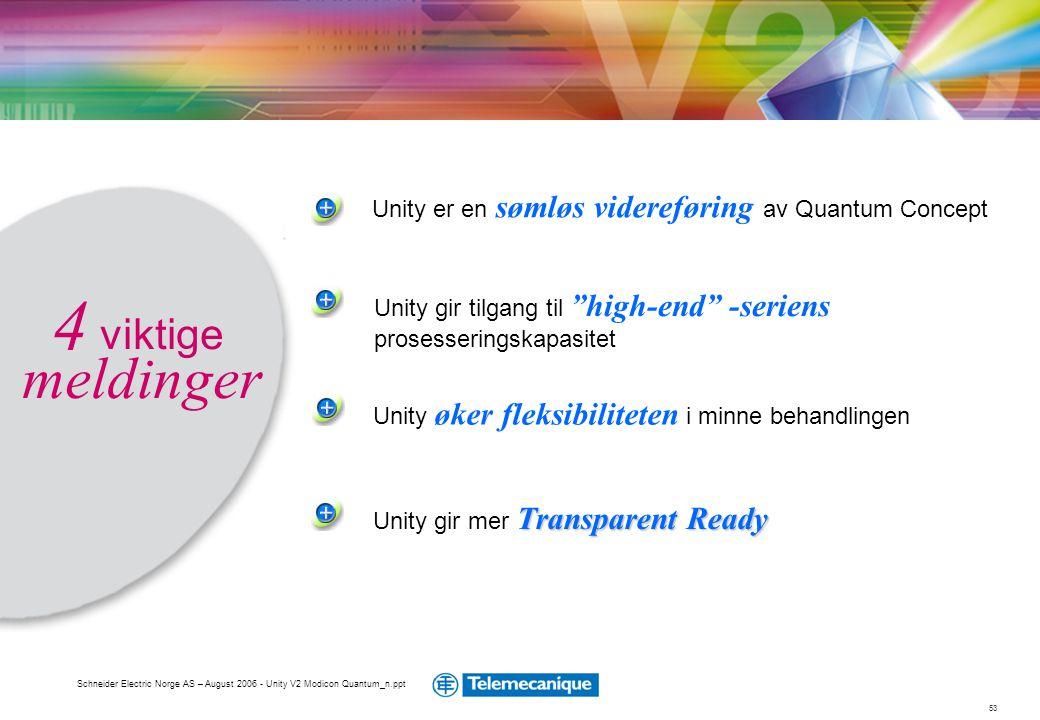 """53 Schneider Electric Norge AS – August 2006 - Unity V2 Modicon Quantum_n.ppt Unity gir tilgang til """"high-end"""" -seriens prosesseringskapasitet Unity e"""