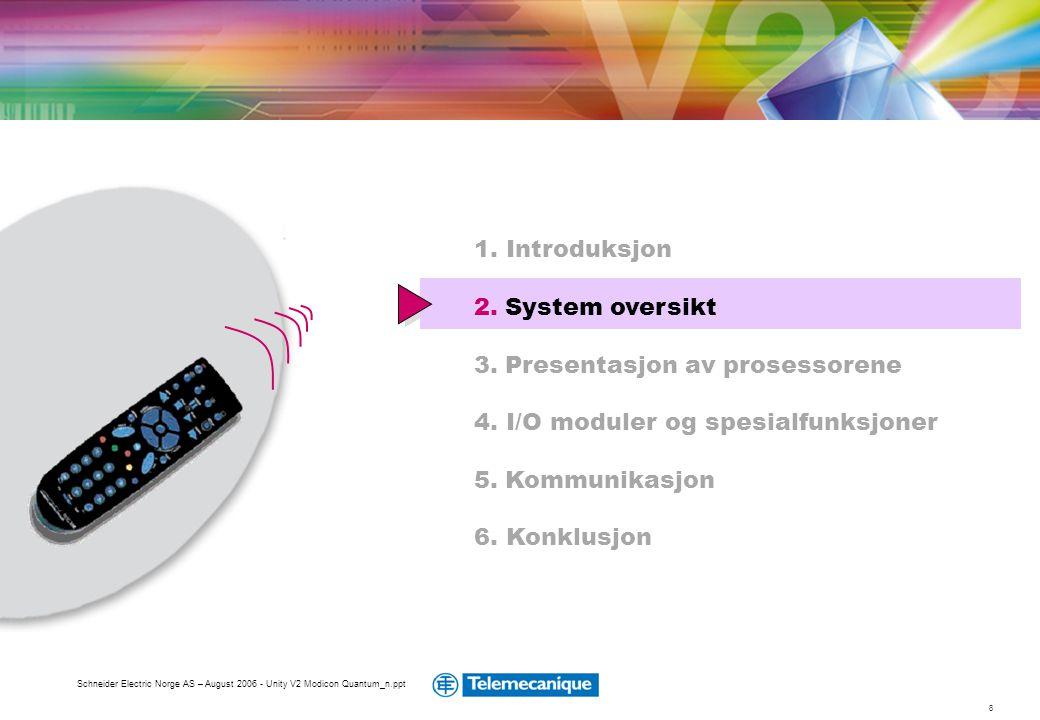 8 Schneider Electric Norge AS – August 2006 - Unity V2 Modicon Quantum_n.ppt 1. Introduksjon 2. System oversikt 3. Presentasjon av prosessorene 4. I/O