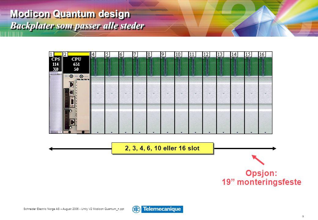 """9 Schneider Electric Norge AS – August 2006 - Unity V2 Modicon Quantum_n.ppt Opsjon: 19"""" monteringsfeste Modicon Quantum design Backplater som passer"""
