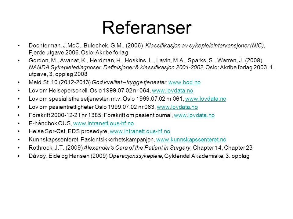 Referanser •Dochterman, J.McC., Bulechek, G.M., (2006) Klassifikasjon av sykepleieintervensjoner (NIC), Fjerde utgave 2006, Oslo: Akribe forlag •Gordo