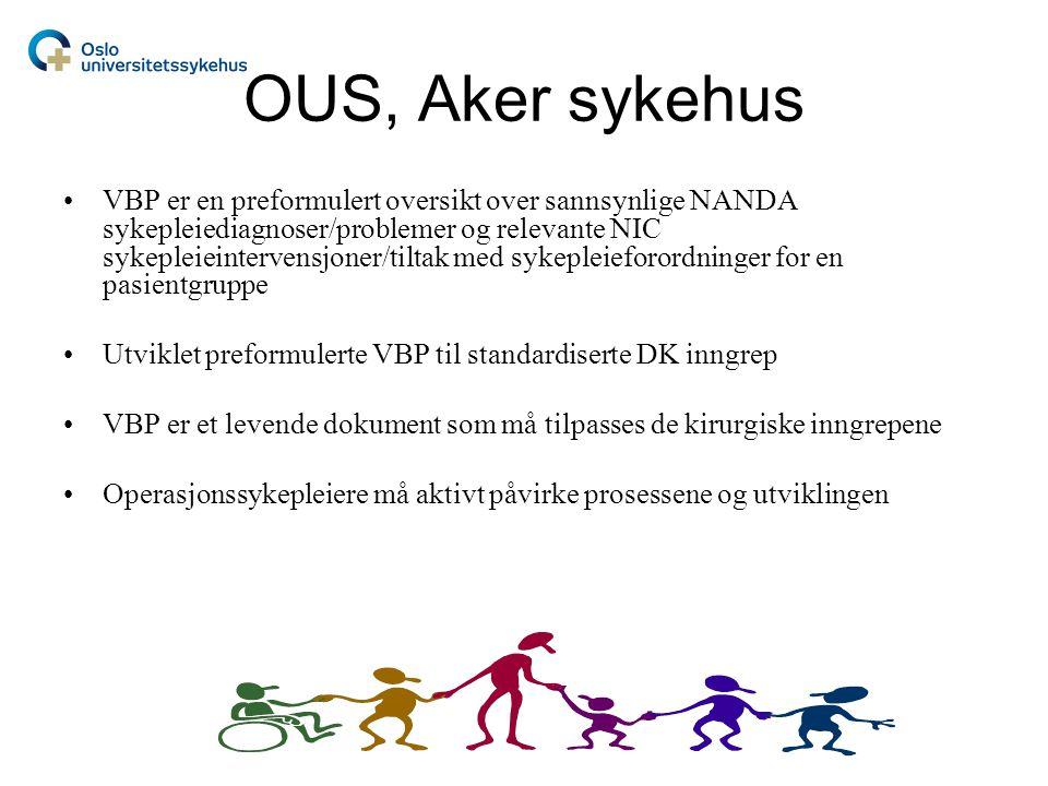 OUS, Aker sykehus •VBP er en preformulert oversikt over sannsynlige NANDA sykepleiediagnoser/problemer og relevante NIC sykepleieintervensjoner/tiltak