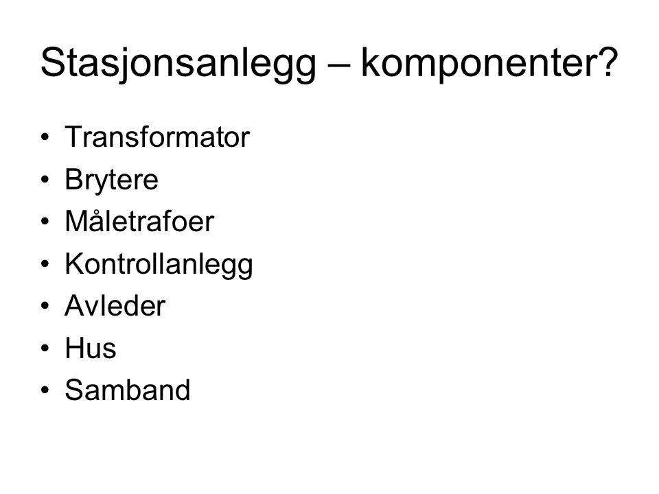 Stasjonsanlegg – komponenter.