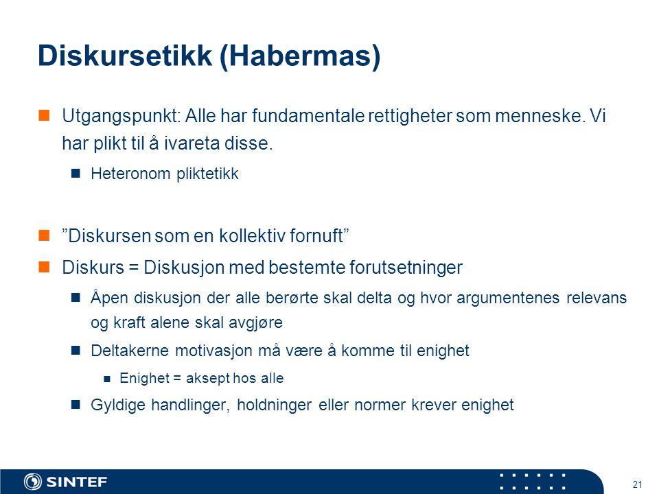 21 Diskursetikk (Habermas)  Utgangspunkt: Alle har fundamentale rettigheter som menneske. Vi har plikt til å ivareta disse.  Heteronom pliktetikk 