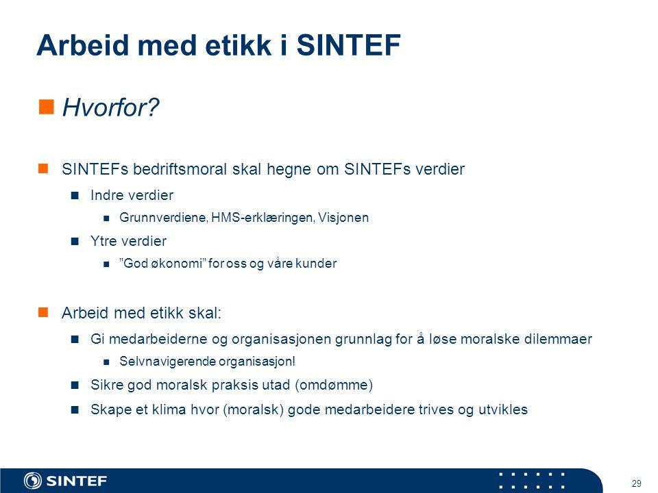 29 Arbeid med etikk i SINTEF  Hvorfor?  SINTEFs bedriftsmoral skal hegne om SINTEFs verdier  Indre verdier  Grunnverdiene, HMS-erklæringen, Visjon