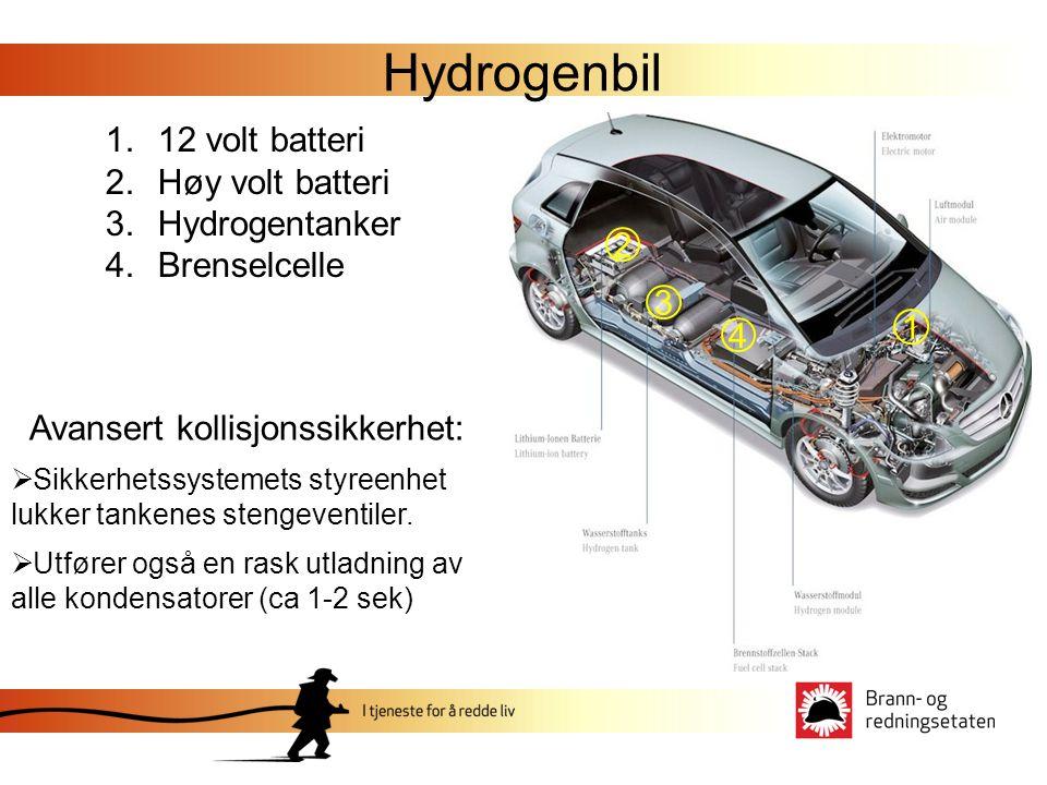 Hydrogenbil 1.12 volt batteri 2.Høy volt batteri 3.Hydrogentanker 4.Brenselcelle 1 2 3 4 Avansert kollisjonssikkerhet:  Sikkerhetssystemets styreenhet lukker tankenes stengeventiler.