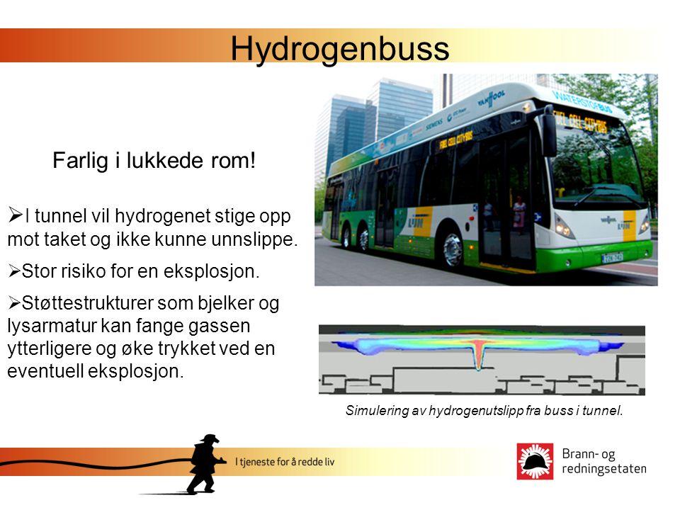 Hydrogenbuss Farlig i lukkede rom!  I tunnel vil hydrogenet stige opp mot taket og ikke kunne unnslippe.  Stor risiko for en eksplosjon.  Støttestr