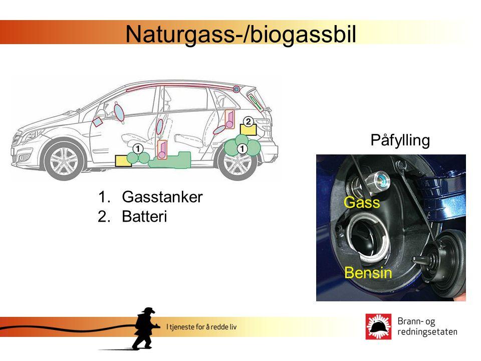Naturgass-/biogassbil 1.Gasstanker 2.Batteri Påfylling Gass Bensin