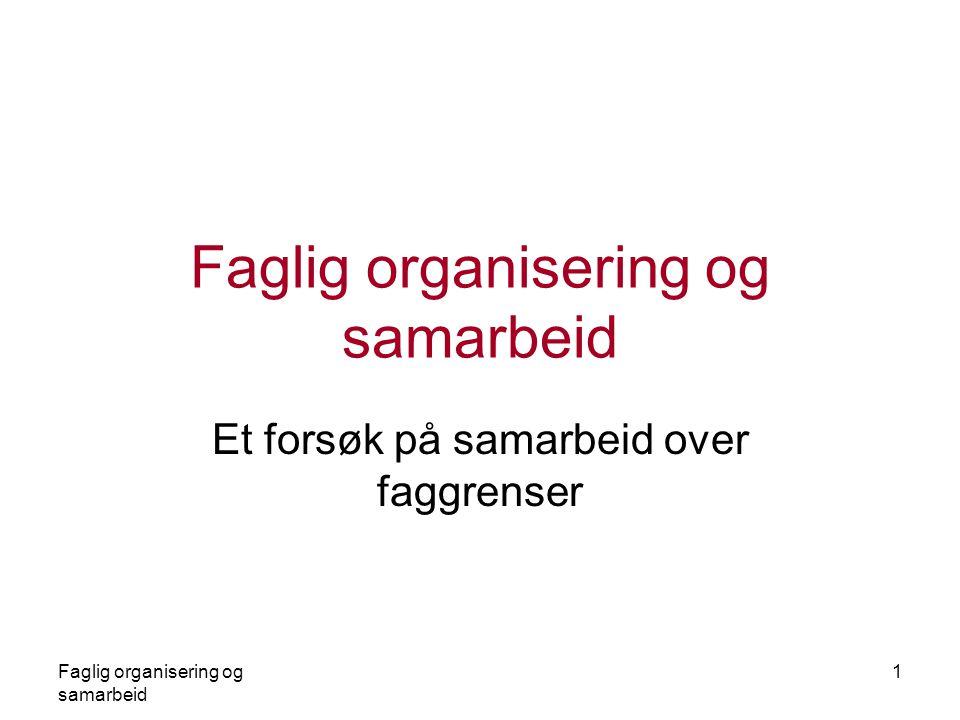 Faglig organisering og samarbeid 1 Et forsøk på samarbeid over faggrenser