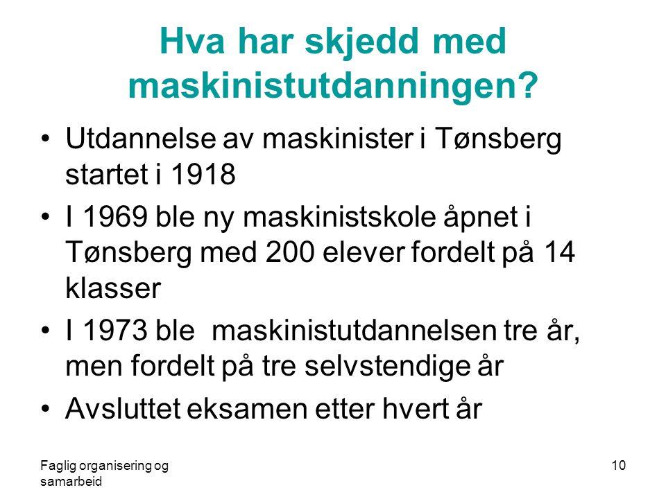 Faglig organisering og samarbeid 10 Hva har skjedd med maskinistutdanningen? •Utdannelse av maskinister i Tønsberg startet i 1918 •I 1969 ble ny maski