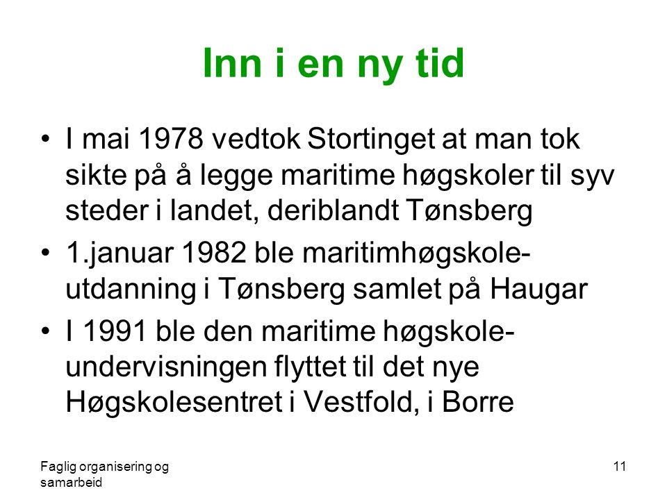 Faglig organisering og samarbeid 11 Inn i en ny tid •I mai 1978 vedtok Stortinget at man tok sikte på å legge maritime høgskoler til syv steder i landet, deriblandt Tønsberg •1.januar 1982 ble maritimhøgskole- utdanning i Tønsberg samlet på Haugar •I 1991 ble den maritime høgskole- undervisningen flyttet til det nye Høgskolesentret i Vestfold, i Borre