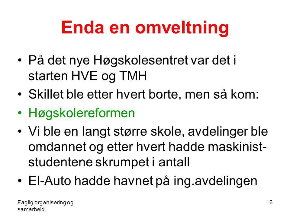 Faglig organisering og samarbeid 16 Enda en omveltning •På det nye Høgskolesentret var det i starten HVE og TMH •Skillet ble etter hvert borte, men så