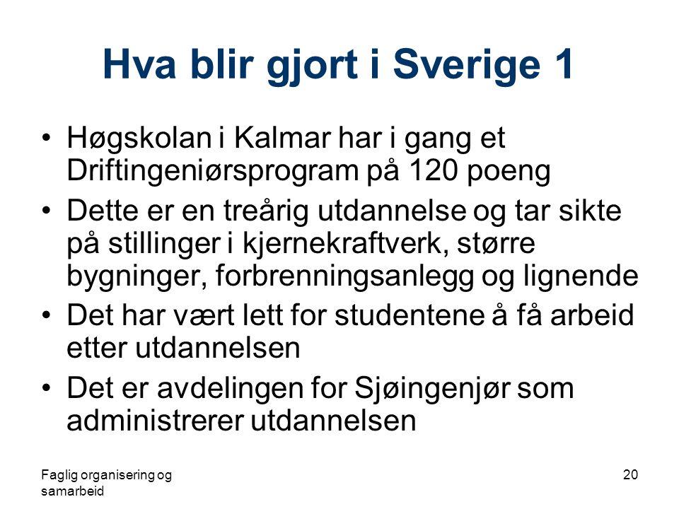 Faglig organisering og samarbeid 20 Hva blir gjort i Sverige 1 •Høgskolan i Kalmar har i gang et Driftingeniørsprogram på 120 poeng •Dette er en treår