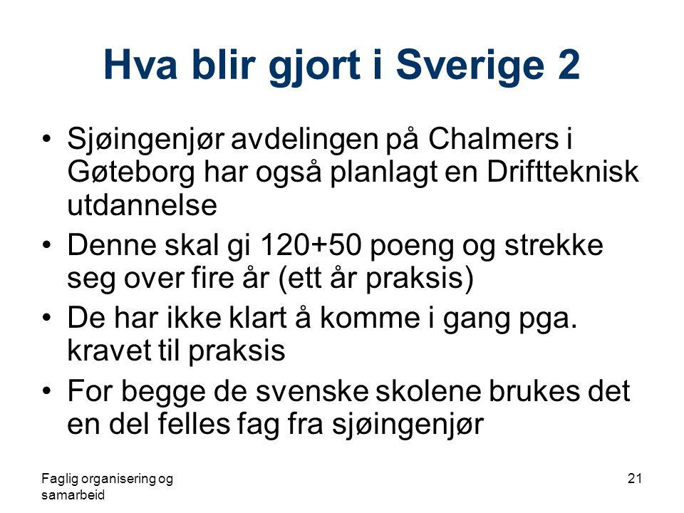 Faglig organisering og samarbeid 21 Hva blir gjort i Sverige 2 •Sjøingenjør avdelingen på Chalmers i Gøteborg har også planlagt en Driftteknisk utdannelse •Denne skal gi 120+50 poeng og strekke seg over fire år (ett år praksis) •De har ikke klart å komme i gang pga.
