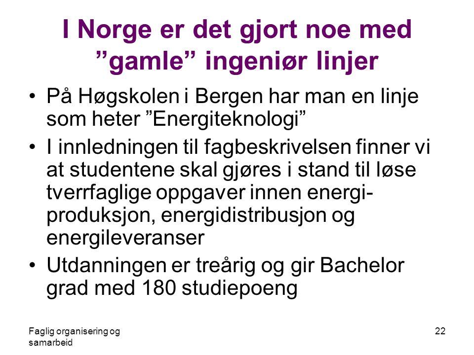 Faglig organisering og samarbeid 22 I Norge er det gjort noe med gamle ingeniør linjer •På Høgskolen i Bergen har man en linje som heter Energiteknologi •I innledningen til fagbeskrivelsen finner vi at studentene skal gjøres i stand til løse tverrfaglige oppgaver innen energi- produksjon, energidistribusjon og energileveranser •Utdanningen er treårig og gir Bachelor grad med 180 studiepoeng