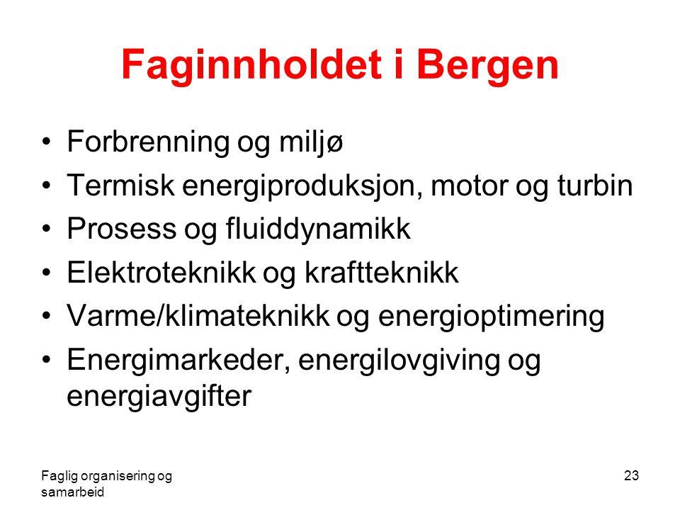 Faglig organisering og samarbeid 23 Faginnholdet i Bergen •Forbrenning og miljø •Termisk energiproduksjon, motor og turbin •Prosess og fluiddynamikk •Elektroteknikk og kraftteknikk •Varme/klimateknikk og energioptimering •Energimarkeder, energilovgiving og energiavgifter