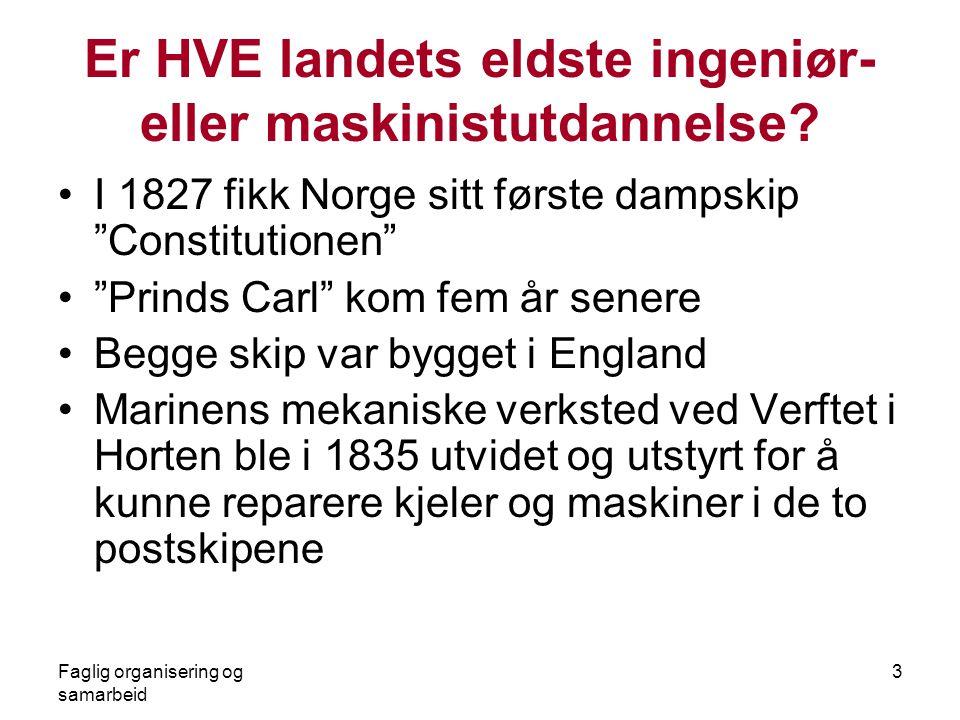 """Faglig organisering og samarbeid 3 Er HVE landets eldste ingeniør- eller maskinistutdannelse? •I 1827 fikk Norge sitt første dampskip """"Constitutionen"""""""