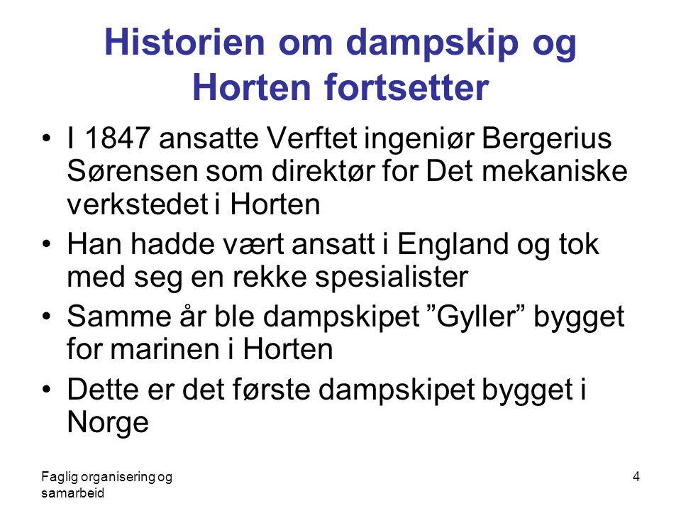 Faglig organisering og samarbeid 4 Historien om dampskip og Horten fortsetter •I 1847 ansatte Verftet ingeniør Bergerius Sørensen som direktør for Det