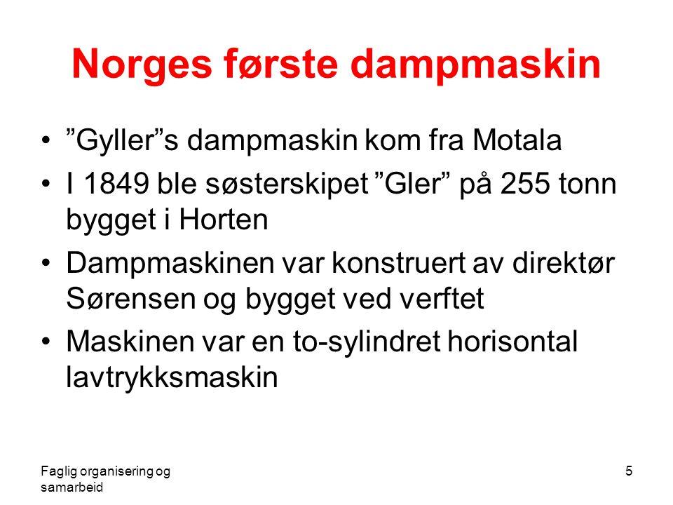"""Faglig organisering og samarbeid 5 Norges første dampmaskin •""""Gyller""""s dampmaskin kom fra Motala •I 1849 ble søsterskipet """"Gler"""" på 255 tonn bygget i"""