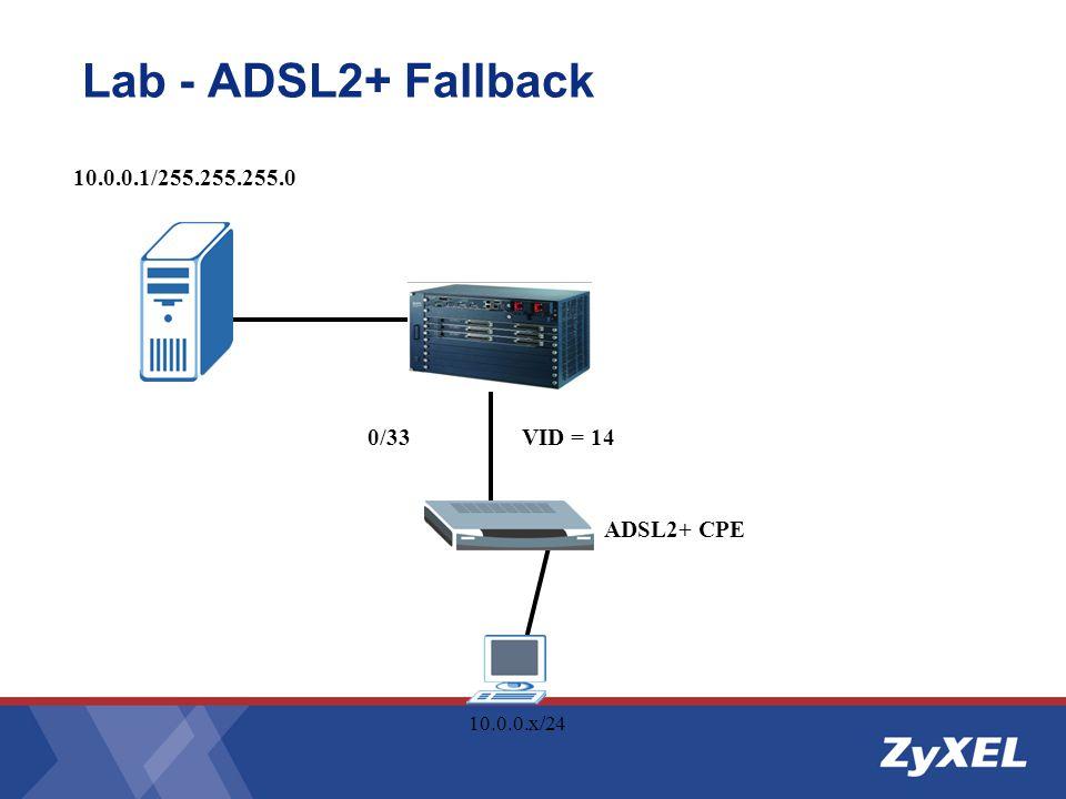 Lab - ADSL2+ Fallback 10.0.0.1/255.255.255.0 0/33 VID = 14 ADSL2+ CPE 10.0.0.x/24
