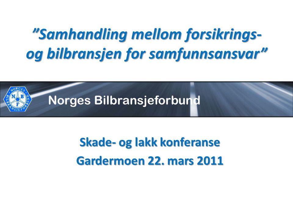 """Norges Bilbransjeforbund """"Samhandling mellom forsikrings- og bilbransjen for samfunnsansvar"""" Skade- og lakk konferanse Gardermoen 22. mars 2011"""