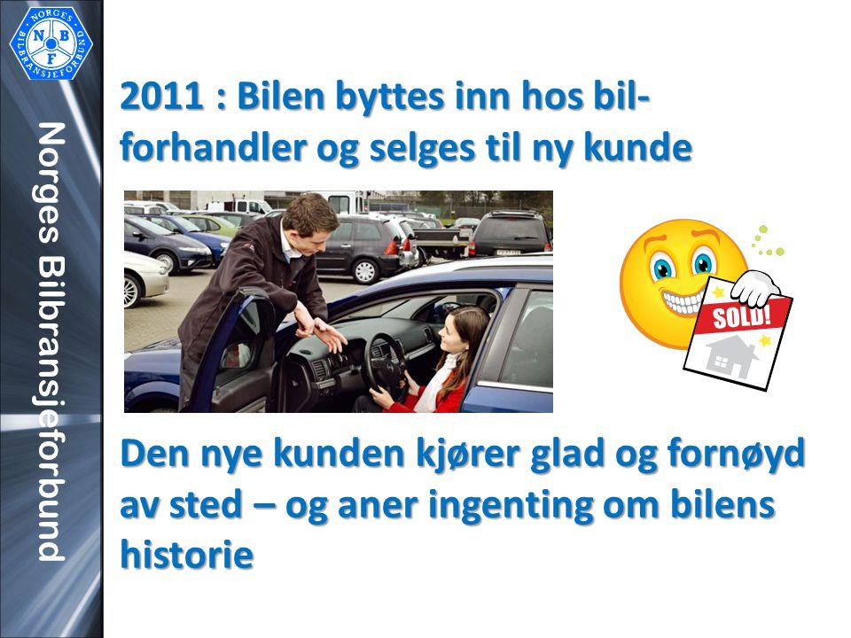 Norges Bilbransjeforbund 2011 : Bilen byttes inn hos bil- forhandler og selges til ny kunde Den nye kunden kjører glad og fornøyd av sted – og aner in