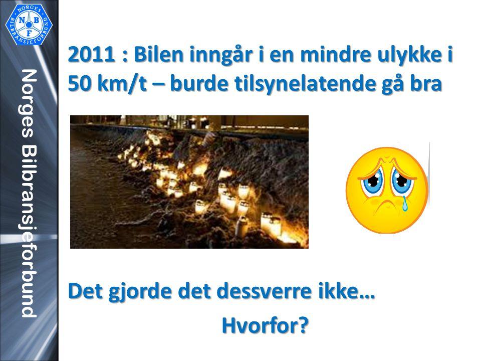 Norges Bilbransjeforbund 2011 : Bilen inngår i en mindre ulykke i 50 km/t – burde tilsynelatende gå bra Det gjorde det dessverre ikke… Hvorfor?