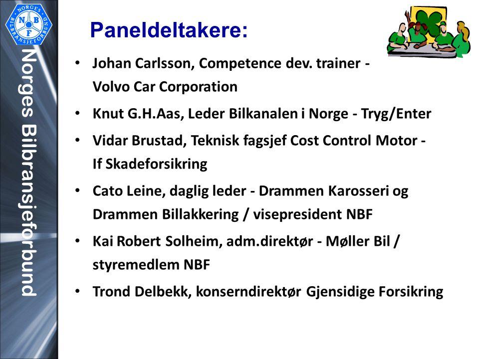 Norges Bilbransjeforbund Paneldeltakere: • Johan Carlsson, Competence dev. trainer - Volvo Car Corporation • Knut G.H.Aas, Leder Bilkanalen i Norge -