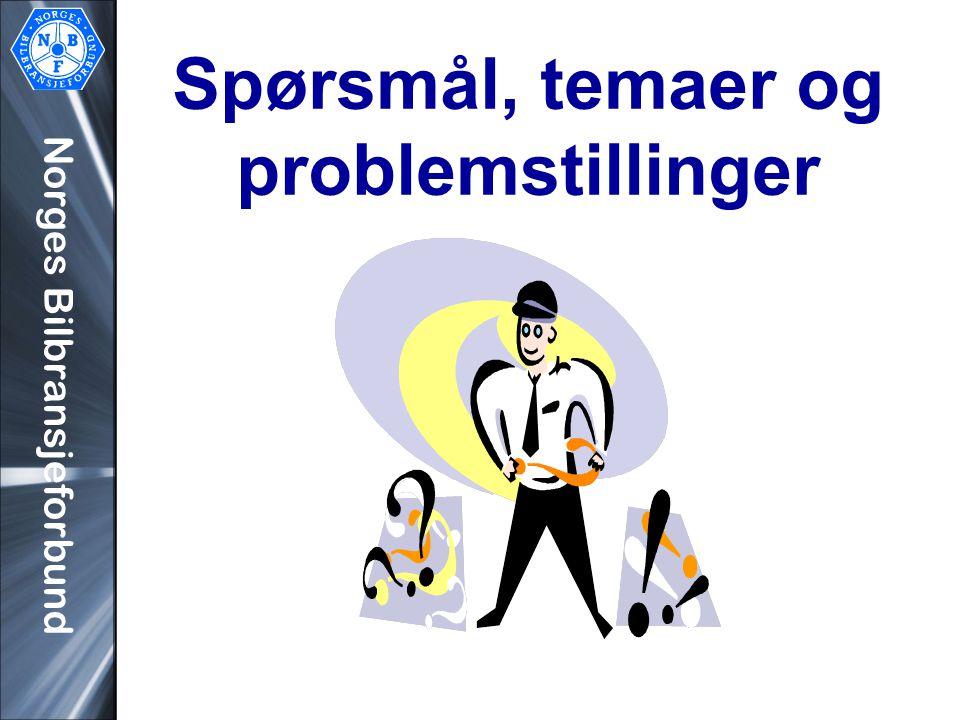 Norges Bilbransjeforbund Spørsmål, temaer og problemstillinger