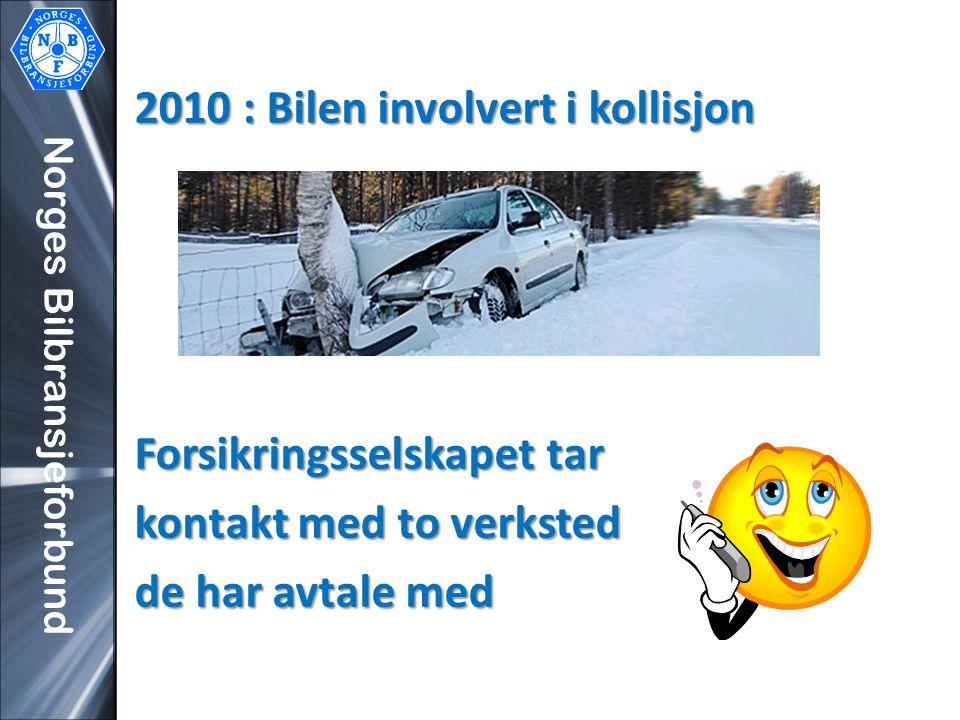 Norges Bilbransjeforbund 2010 : Bilen involvert i kollisjon Forsikringsselskapet tar kontakt med to verksted de har avtale med