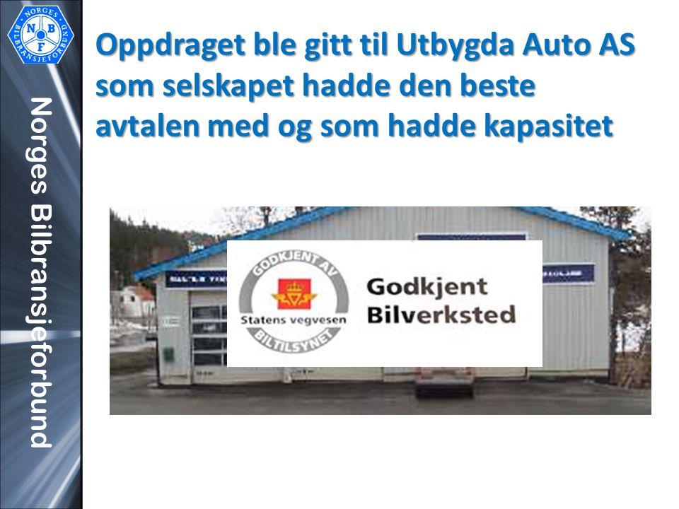 Norges Bilbransjeforbund Oppdraget ble gitt til Utbygda Auto AS som selskapet hadde den beste avtalen med og som hadde kapasitet