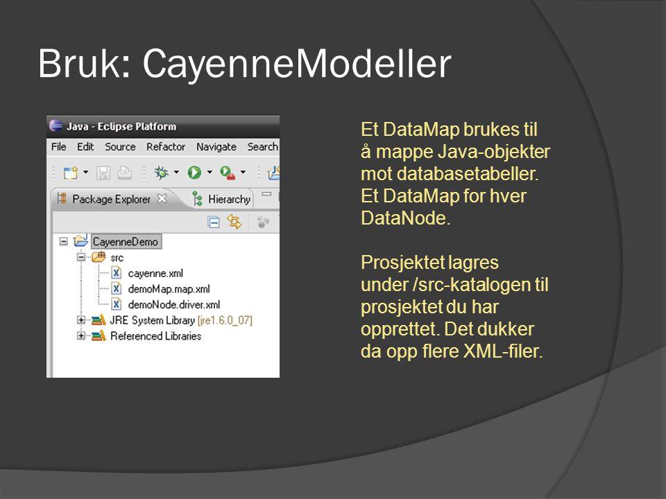 Bruk: CayenneModeller Et DataMap brukes til å mappe Java-objekter mot databasetabeller. Et DataMap for hver DataNode. Prosjektet lagres under /src-kat