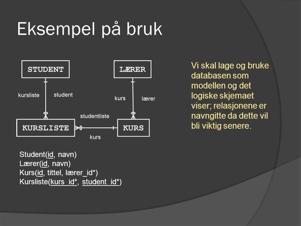 Bruk: Eclipse De genererte java-klassene (db) og superklasser (db.auto).