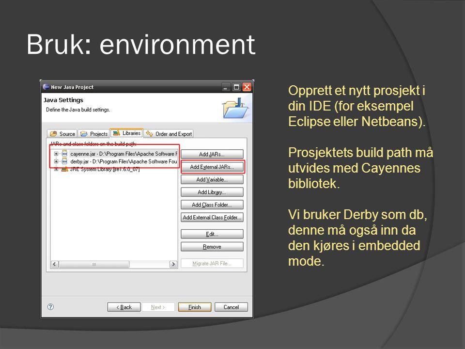 Opprett et nytt prosjekt i din IDE (for eksempel Eclipse eller Netbeans). Prosjektets build path må utvides med Cayennes bibliotek. Vi bruker Derby so