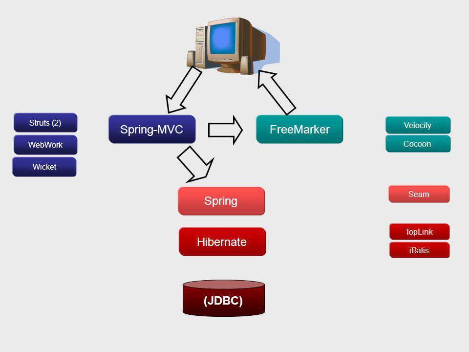 Spring-MVCFreeMarker Spring Hibernate (JDBC) TopLink Seam iBatis Velocity Cocoon Struts (2) WebWork Wicket