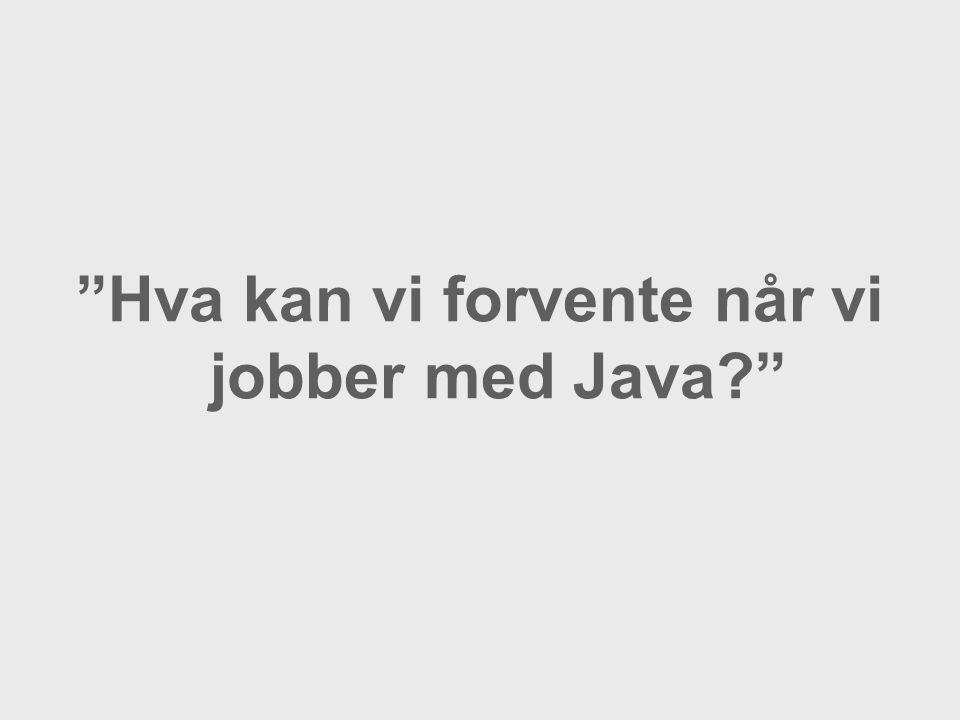 Hva kan vi forvente når vi jobber med Java?