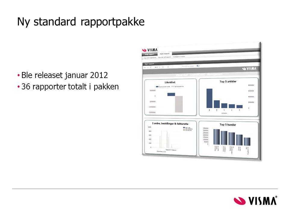 Ny standard rapportpakke • Ble releaset januar 2012 • 36 rapporter totalt i pakken