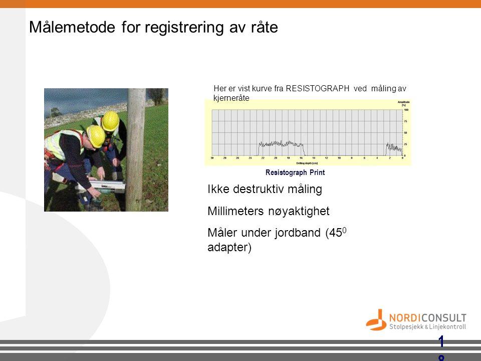 18 Målemetode for registrering av råte Ikke destruktiv måling Millimeters nøyaktighet Måler under jordband (45 0 adapter) Resistograph Print Her er vi