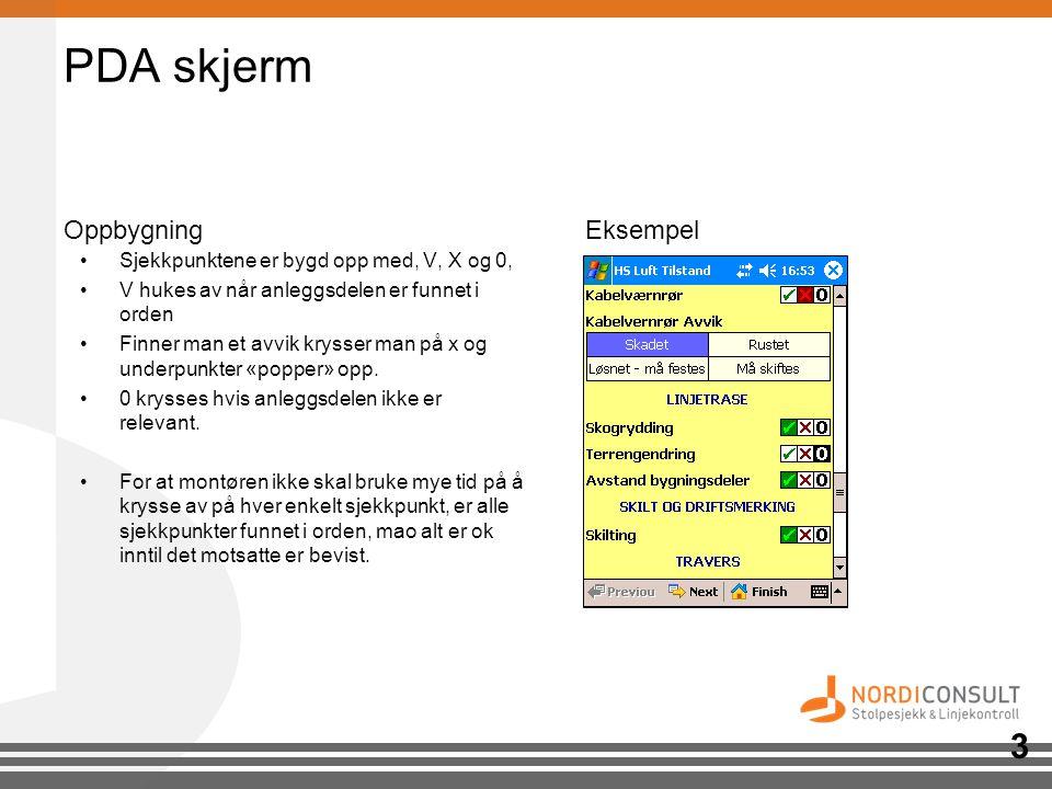 PDA skjerm OppbygningEksempel •Sjekkpunktene er bygd opp med, V, X og 0, •V hukes av når anleggsdelen er funnet i orden •Finner man et avvik krysser m