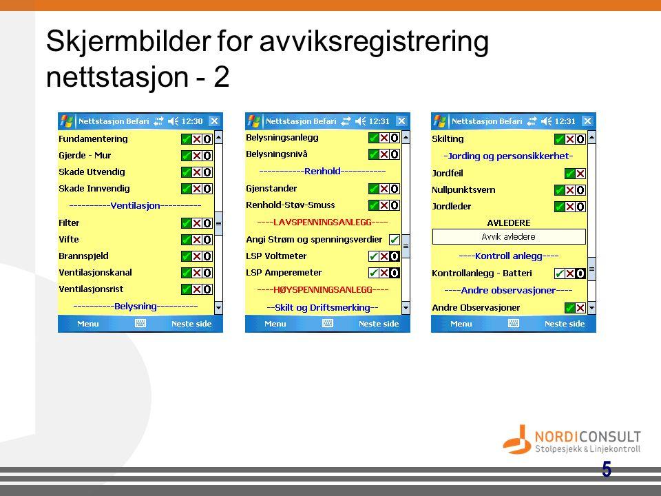 5 Skjermbilder for avviksregistrering nettstasjon - 2