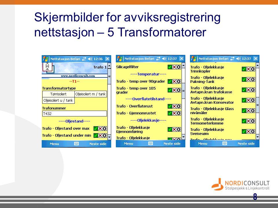 8 Skjermbilder for avviksregistrering nettstasjon – 5 Transformatorer