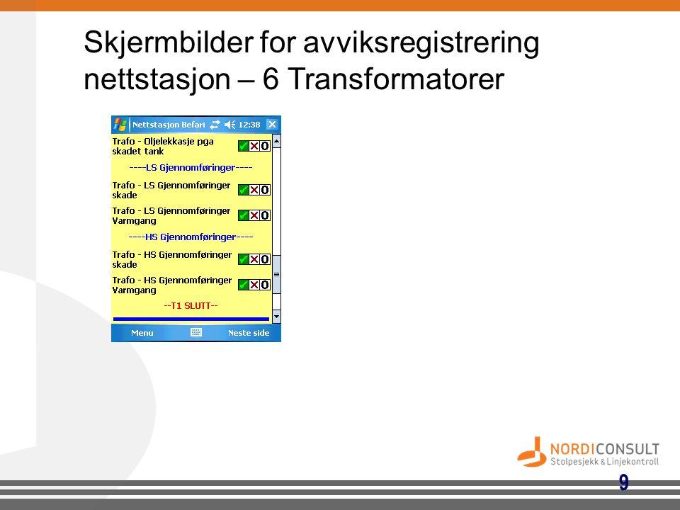 9 Skjermbilder for avviksregistrering nettstasjon – 6 Transformatorer