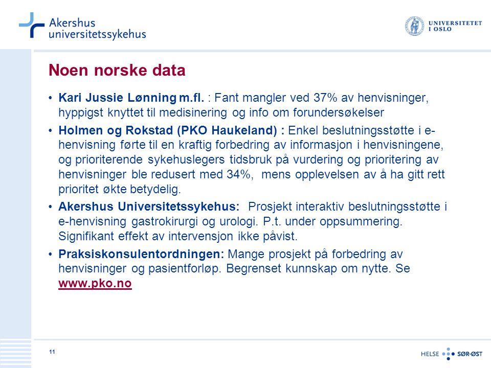 11 Noen norske data •Kari Jussie Lønning m.fl. : Fant mangler ved 37% av henvisninger, hyppigst knyttet til medisinering og info om forundersøkelser •