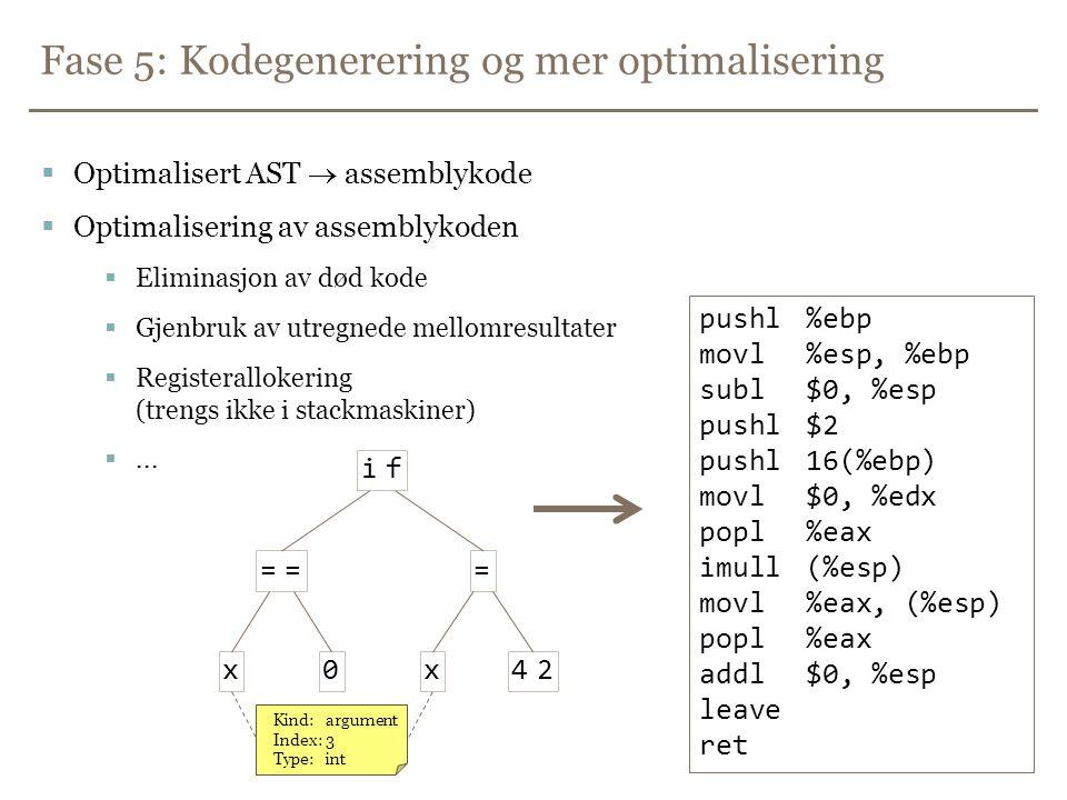 Fase 5: Kodegenerering og mer optimalisering  Optimalisert AST  assemblykode  Optimalisering av assemblykoden  Eliminasjon av død kode  Gjenbruk