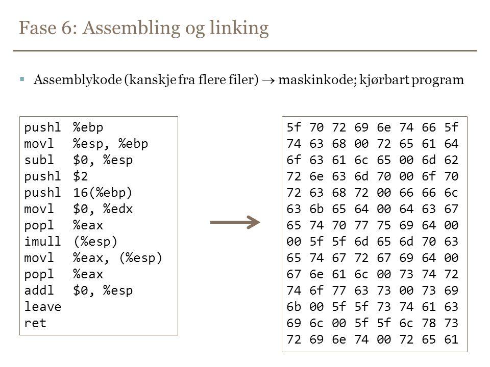 Fase 6: Assembling og linking  Assemblykode (kanskje fra flere filer)  maskinkode; kjørbart program pushl%ebp movl%esp, %ebp subl$0, %esp pushl$2 pushl16(%ebp) movl$0, %edx popl%eax imull(%esp) movl%eax, (%esp) popl%eax addl$0, %esp leave ret 5f 70 72 69 6e 74 66 5f 74 63 68 00 72 65 61 64 6f 63 61 6c 65 00 6d 62 72 6e 63 6d 70 00 6f 70 72 63 68 72 00 66 66 6c 63 6b 65 64 00 64 63 67 65 74 70 77 75 69 64 00 00 5f 5f 6d 65 6d 70 63 65 74 67 72 67 69 64 00 67 6e 61 6c 00 73 74 72 74 6f 77 63 73 00 73 69 6b 00 5f 5f 73 74 61 63 69 6c 00 5f 5f 6c 78 73 72 69 6e 74 00 72 65 61