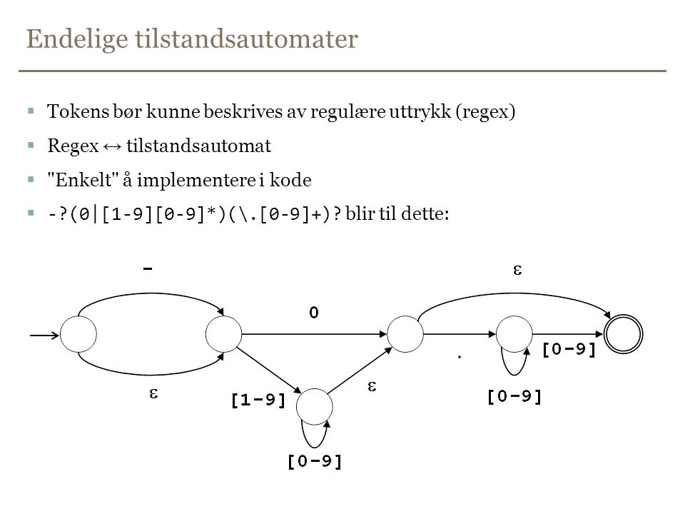 Endelige tilstandsautomater  Tokens bør kunne beskrives av regulære uttrykk (regex)  Regex ↔ tilstandsautomat  Enkelt å implementere i kode  -?(0|[1-9][0-9]*)(\.[0-9]+).